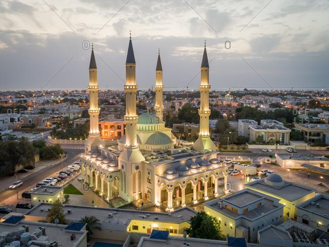 April 26, 2018: Aerial view of Al Farooq Omar Bin Al Khattam Mosque in Dubai, UAE.