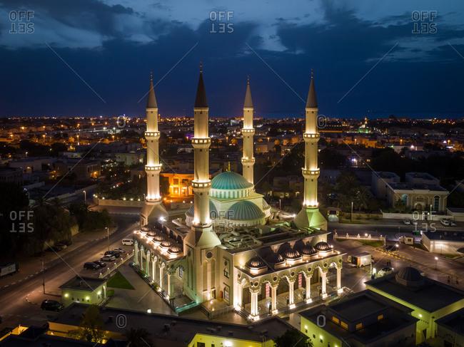 April 26, 2018: Aerial view of illuminated Al Farooq Omar Bin Al Khattam Mosque in Dubai, UAE.