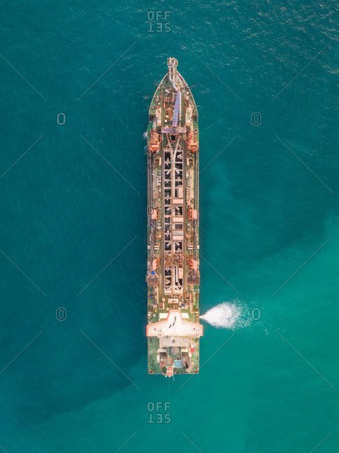 Aerial view of sand dredging boat in Persian Gulf, Dubai, UAE.