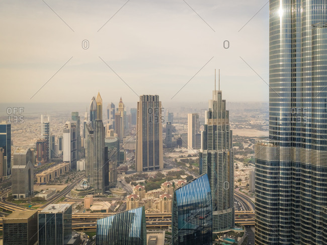 May 2, 2018: Aerial view of Burj Khalifa and other skyscrapers in Dubai, UAE.