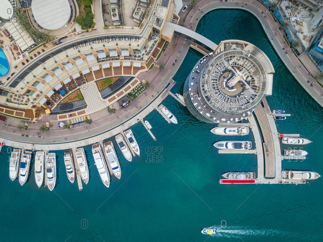 May 3, 2018: Aerial view of  moored boats in Dubai Marina  UAE.