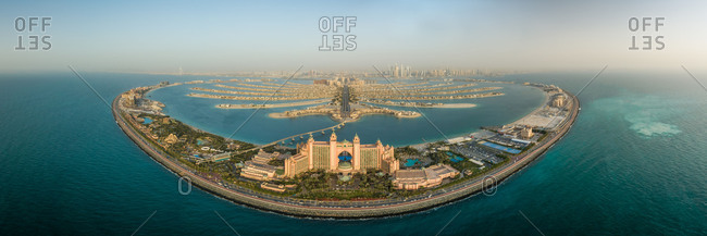 May 6, 2018: Aerial panoramic view of Aquaventure and the Palm Jumeirah, Dubai, UAE.
