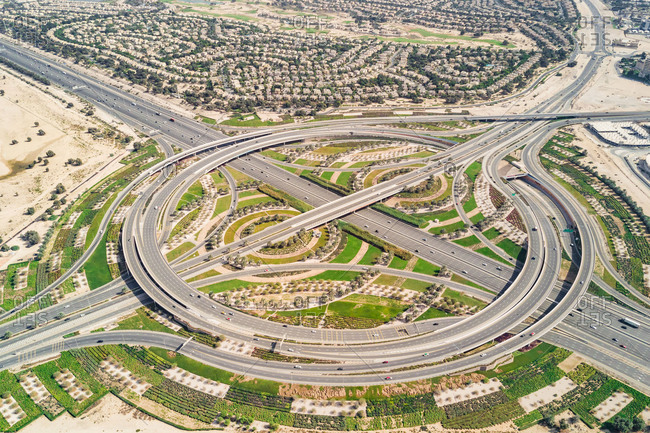 Aerial view of road with geometrical pattern in Dubai, Unites Arab Emirates.