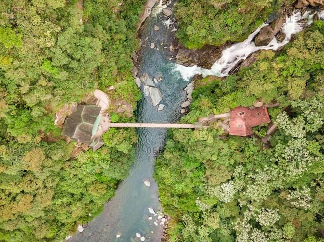 Aerial view of Cascada El Pailon del diablo, Rio Verde in Ecuador.