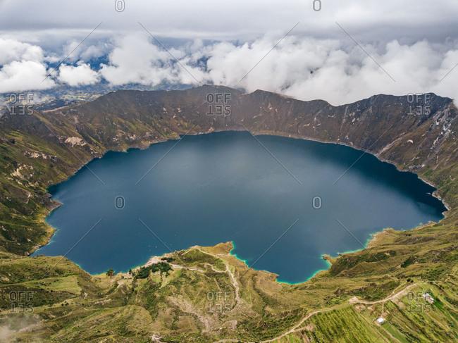 Aerial view of Laguna de Quilotoa, crater lake, Province of Cotopaxi, Ecuador.