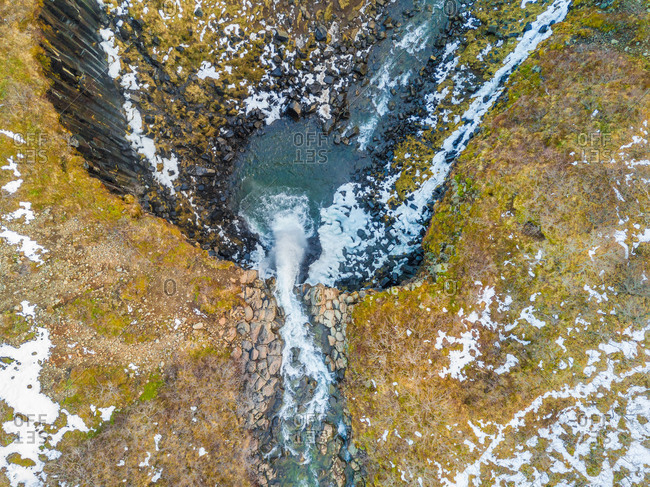 Aerial view of Svartifoss waterfall in Skaftafell national park, Iceland.