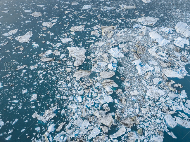 Aerial abstract view of floating iceberg in Jokulsarlon Glacier, Iceland.