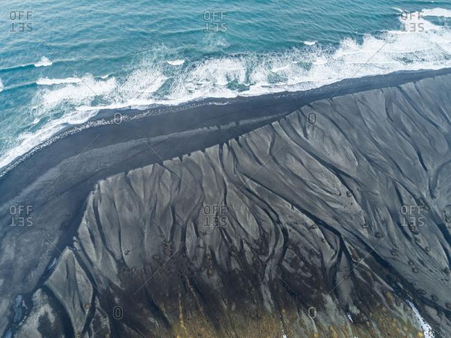 Aerial view of Diamond Beach coastline, Iceland.