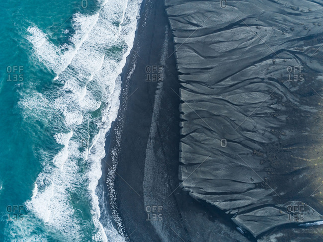 Aerial abstract view of Diamond Beach, Iceland.