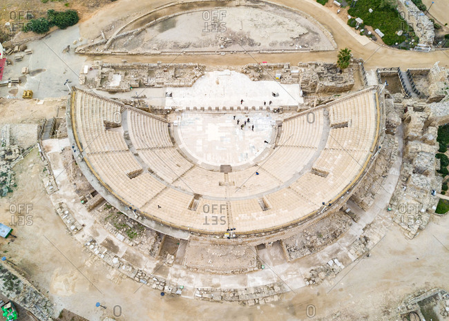 February 1, 2017: Aerial  close up view of ruins of Promontory Palace amphitheater, Haifa, Israel.