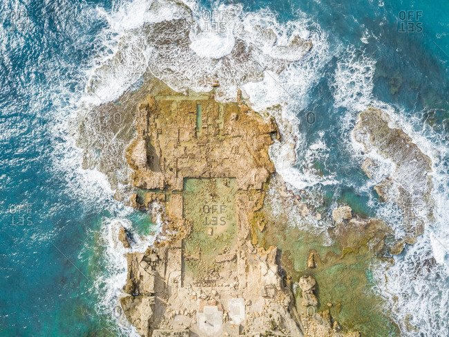 Aerial abstract view of ruins of Promontory Palace, Haifa, Israel.