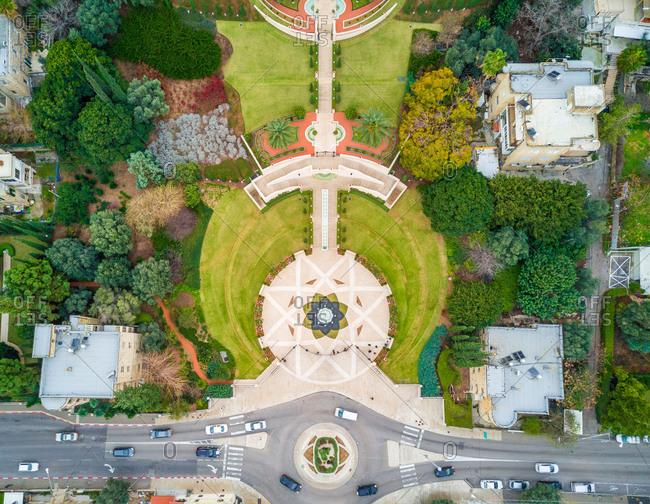 Aerial view of Bahai Gardens in Haifa District, Israel.