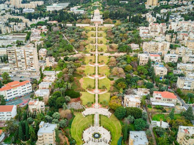 Aerial view of Bahai Gardens and Haifa neighborhood, Haifa District, Israel.