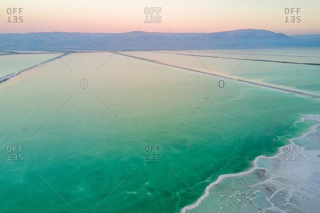Aerial abstract view of Sulphur Baths of Dead Sea, near Beer Sheva, Israel.