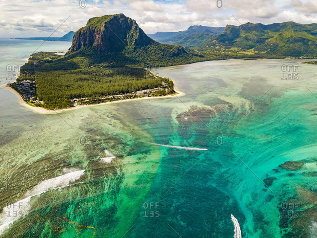 Aerial view of Indian Ocean and Le Morne, Riviere Noire District, Mauritius