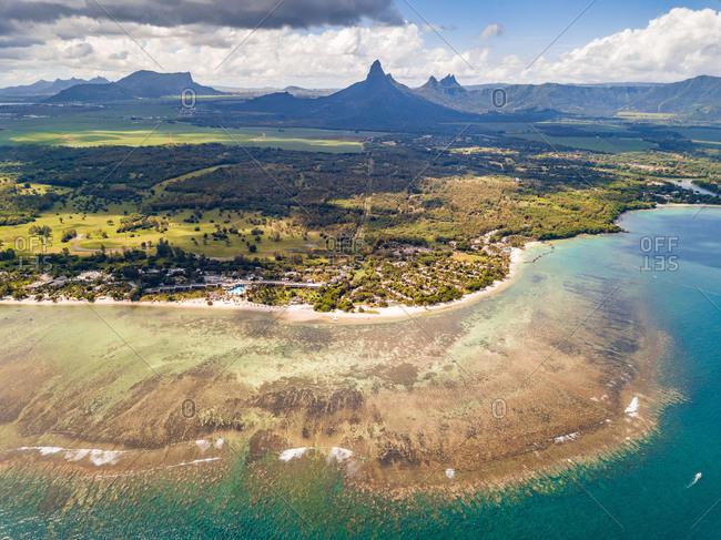 Aerial view of Flic en Flac, Riviere Noir, Mauritius