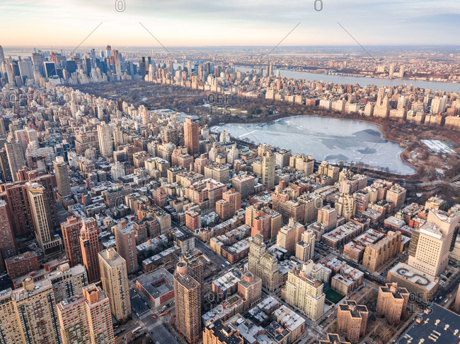 Aerial view of Central Park and cityscape of Manhattan, New York, United States.