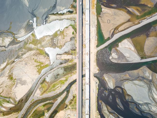 Aerial view of Puente Chacabuco bridge, Region del Bio Bio, Chile