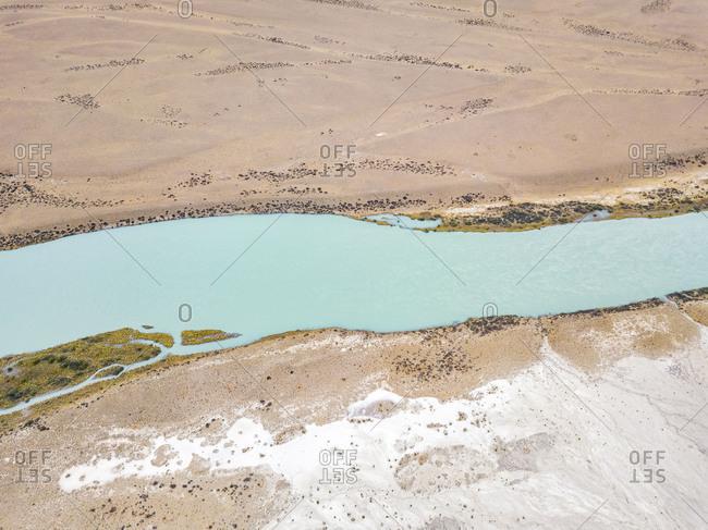 Aerial view of La Leona river in plateau of Lago Viedma, Santa Cruz, Argentina