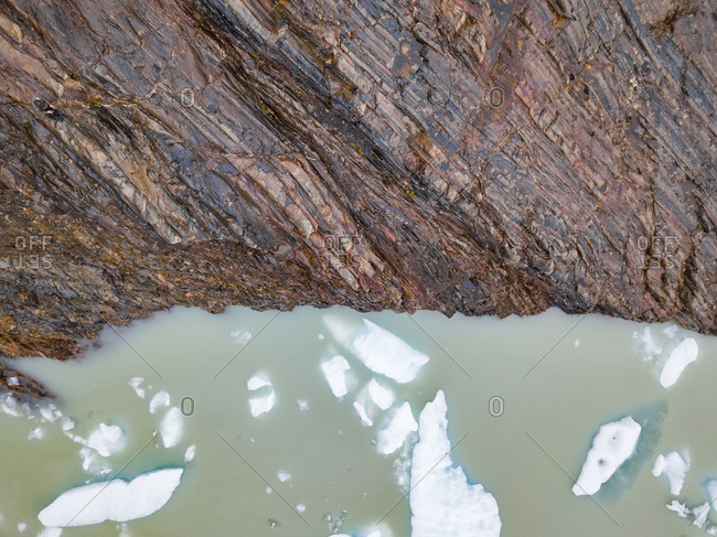 Aerial  view of floating glacier in Lago Grey,  Torres del Paine, Chile