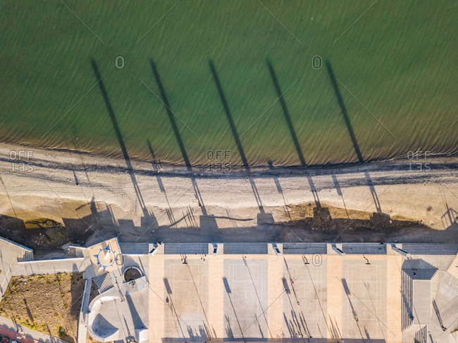 February 11, 2018: Aerial view of beachfront basketball courts in Punta Arenas, Chile