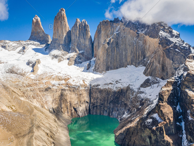 Aerial view of mountains and lake in Torres del Paine national park, Chile