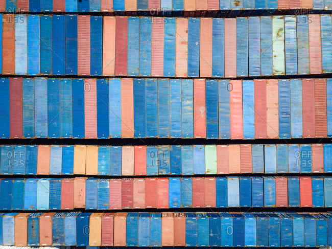 Aerial view of multicolored shipping containers in Le Port, Reunion island.