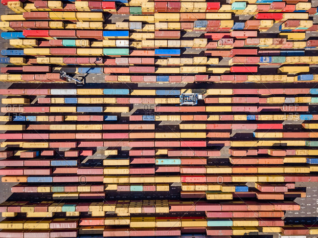 April 11, 2018: Aerial view of multicolored shipping containers in Le Port, Reunion island.