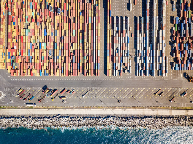 April 11, 2018: Aerial view of shipping containers in harbor, Reunion island.
