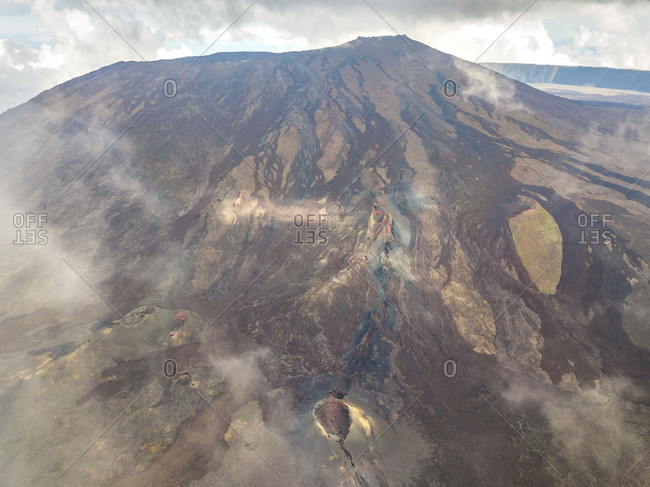 Aerial view of volcanic mountain and craters of von Drasche and Faujas, Reunion island.