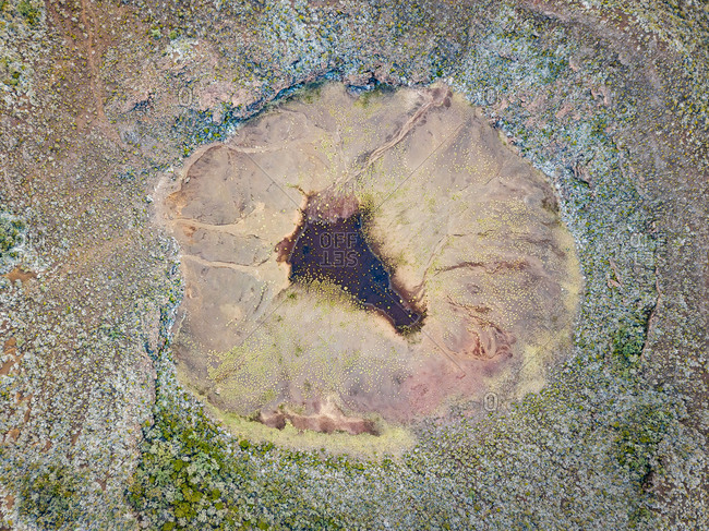 Aerial  abstract view of volcano crater near  Route du Volcan road, Reunion island.