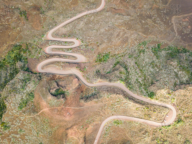 Aerial view of winding Route du Volcan road, Reunion island.