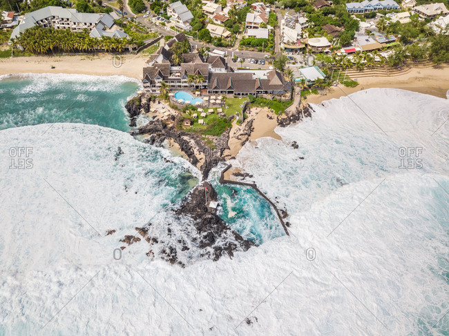 LA REUNION ISLAND14 APRIL 2018: Aerial view of Boucan Canot hotel beachfront luxury resort, Reunion island.
