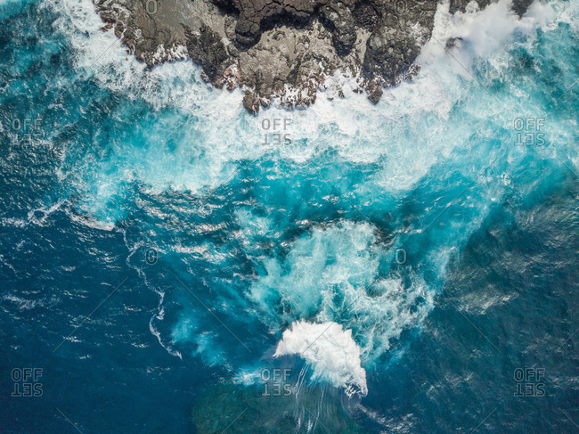 Aerial abstract view of rocky coastline, Saint-Philippe, Reunion island.