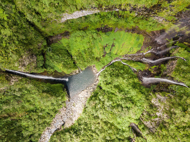 Aerial view of voile de la Mariee waterfall, Reunion island.