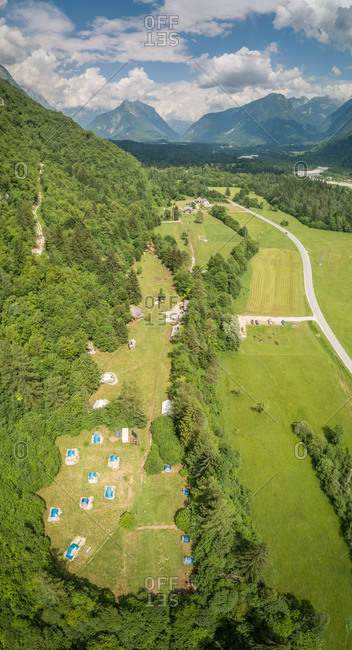 Aerial view of eco camp in Soca valley region.