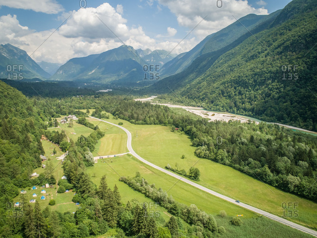 Aerial view of the Soca valley in Slovenia.