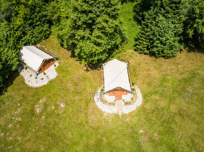 Aerial view of the glamping tents in a eco camp in Slovenia