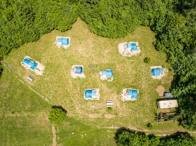 Aerial view of tents in eco camp in Slovenia.
