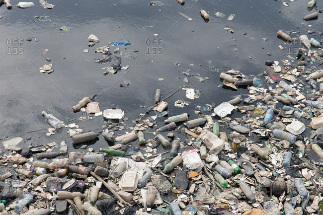 Agbogbloshie, Ghana - March 22, 2018: Plastic waste washes into the ocean
