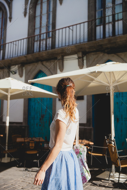 Woman exploring the enchanting streets of Las Palmas, Gran Canaria