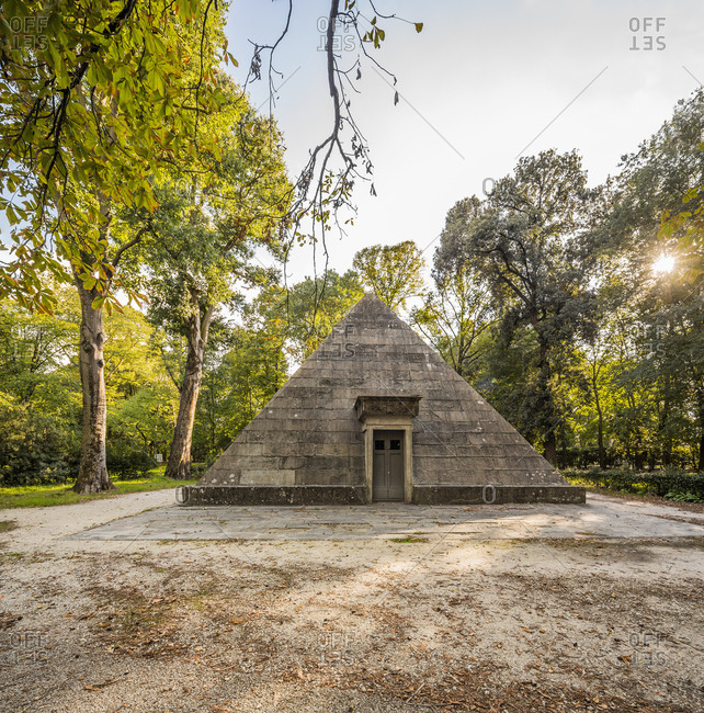 Italy, Tuscany, Florence . Cascine public park, the pyramid, an ancient ice house
