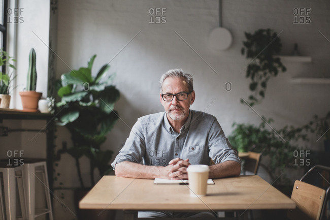 Portrait of mature businessman working in a cafe