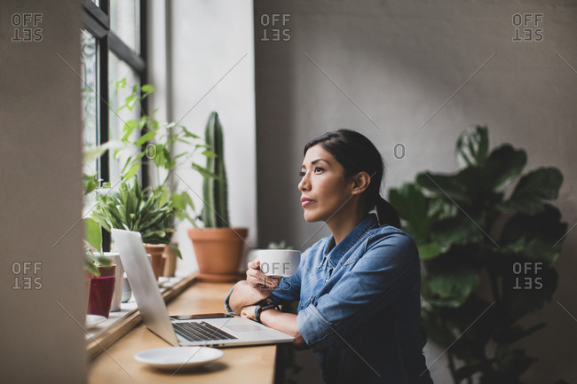 Freelance businesswoman working in a cafe