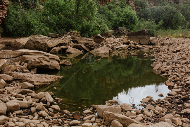 Pool of water in rocky area of Chevelon Canyon in Arizona