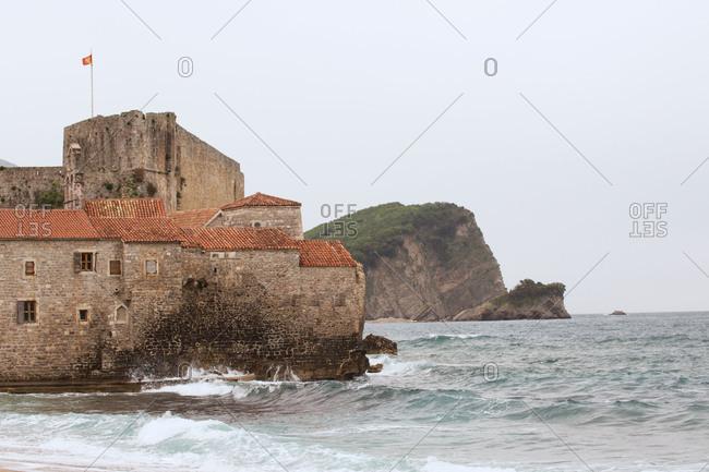 View of Old Town Budva and Sveti Nikoa Island, Montenegro