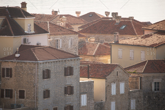 Red roofs in the old town, Budva Montenegro