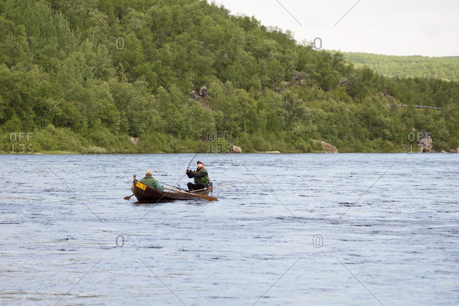 August 30, 2017: Salmon fishing at the Tana river, Utsjoki, Lapland