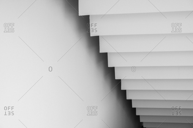 White staircase from below