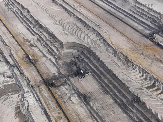 Aerial view lignite mine, Gartzweiler, North Rhine-Westphalia, Germany